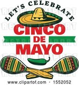 Vector Clip Art of Retro Styled Cinco De Mayo Design with a Sombrero, Jalapeno and Maracas by Vector Tradition SM