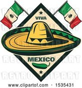 Vector Clip Art of Retro Styled Cinco De Mayo Design with a Sombrero, Jalapeno and Mexican Flags by Vector Tradition SM