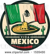 Vector Clip Art of Retro Styled Cinco De Mayo Design with a Sombrero, Mexican Flag, Cactus and Pepper by Vector Tradition SM
