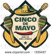 Vector Clip Art of Retro Styled Cinco De Mayo Design with a Sombrero, Pepper, Guitars and Maracas by Vector Tradition SM