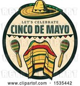 Vector Clip Art of Retro Styled Cinco De Mayo Design with a Sombrero, Poncho and Maracas by Vector Tradition SM