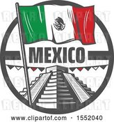 Vector Clip Art of Retro Styled Cinco De Mayo Design with El Castillo Pyramid and a Flag by Vector Tradition SM