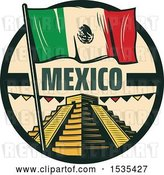 Vector Clip Art of Retro Styled Cinco De Mayo Design with El Castillo Pyramid and a Mexican Flag by Vector Tradition SM