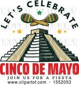 Vector Clip Art of Retro Styled Cinco De Mayo Design with El Castillo Pyramid and Maracas by Vector Tradition SM