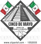 Vector Clip Art of Retro Styled Cinco De Mayo Design with El Castillo Pyramid and Tortilla Chips by Vector Tradition SM