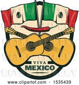 Vector Clip Art of Retro Styled Cinco De Mayo Design with Mexican Flags, Guitars and a Red Pepper by Vector Tradition SM