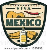 Vector Clip Art of Retro Styled Cinco De Mayo Viva Mexico Design with a Guitar, Pepper, Tequila and Food by Vector Tradition SM