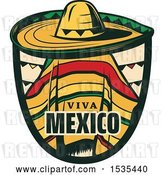 Vector Clip Art of Retro Styled Cinco De Mayo Viva Mexico Design with a Sombrero and Poncho by Vector Tradition SM