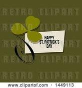 Vector Clip Art of Retro Styled Clover with a Happy St Patricks Day Greeting on Green by Elena