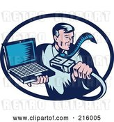 Vector Clip Art of Retro Styled Computer Repair Guy with a Cable and Laptop by Patrimonio