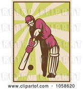 Vector Clip Art of Retro Styled Cricket Batsman Batting by Patrimonio