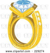 Vector Clip Art of Retro Styled Diamond Ring by Patrimonio