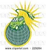 Vector Clip Art of Retro Styled Electric Car on a Globe by Patrimonio