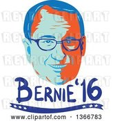 Vector Clip Art of Retro Styled Face of Bernie Sanders, Democratic 2016 Presidential Candidate with Text by Patrimonio