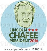 Vector Clip Art of Retro Styled Face of Lincoln Chaffee, 2016 Presidential Candidate, with Text in a Blue Circle by Patrimonio