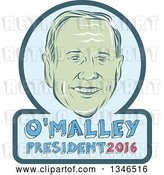 Vector Clip Art of Retro Styled Face of Martin O'Malley, 2016 Presidential Candidate, with Text in a Frame by Patrimonio
