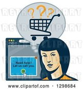 Vector Clip Art of Retro Styled Female Shopper with a Cart and Internet Browser by Patrimonio