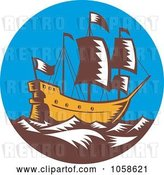 Vector Clip Art of Retro Styled Galleon Ship at Sea by Patrimonio