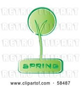 Vector Clip Art of Retro Styled Green Spring Tree Icon by MilsiArt