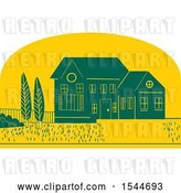 Vector Clip Art of Retro Styled House and Yard in a Yellow Half Circle by Patrimonio