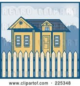 Vector Clip Art of Retro Styled House with a Picket Fence by Patrimonio