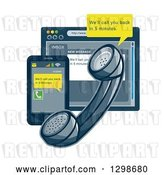 Vector Clip Art of Retro Styled Landline Telephone, Smart Phone and Internet Browser with Customer Service Notices by Patrimonio