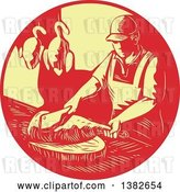 Vector Clip Art of Retro Styled Male Asian Chef or Butcher Chopping Meat in a Red and Yellow Circle by Patrimonio