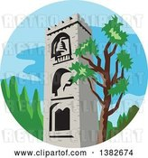 Vector Clip Art of Retro Styled Medieval Bell Tower and Tree in a Circle by Patrimonio