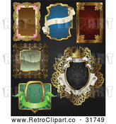 Vector Clip Art of Retro Styled Ornate Frames over Black Background: Digital Collage by AtStockIllustration