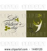 Vector Clip Art of Retro Styled Person, Clovers and Happy St Patricks Day Text by Elena