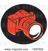 Vector Clip Art of Retro Styled Red DSLR Camera in a Black Oval by Patrimonio
