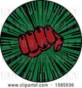 Vector Clip Art of Retro Styled Red Fisted Hand on a Green Burst by Elaineitalia