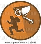 Vector Clip Art of Retro Styled Robber and Video Surveillance Logo by Patrimonio