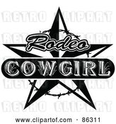 Vector Clip Art of Retro Styled Rodeo Cowgirl Star with Barbed Wire by Andy Nortnik