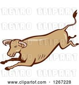 Vector Clip Art of Retro Styled Running Brown Bull by Patrimonio