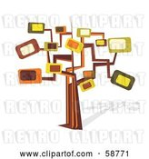 Vector Clip Art of Retro Styled Tree with Rectangle Branches by MilsiArt