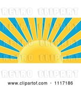 Vector Clip Art of Retro Styled Yellow Sunburst and Blue Sky by Patrimonio