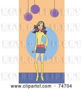 Vector Clip Art of Retro Stylish Lady in a Skirt and Boots by Peachidesigns