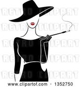 Vector Clip Art of Retro Stylish Lady Wearing a Hat and Black Dress, Smoking a Cigarette with a Long Filter by BNP Design Studio
