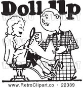 Vector Clip Art of Retro Stylist with a Client and Doll up Text by BestVector