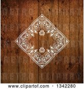 Vector Clip Art of Retro Stylized Wood Grain Background with a White Diamond Floral Frame by KJ Pargeter
