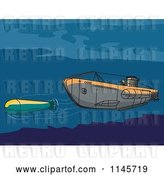 Vector Clip Art of Retro Submarine Launching an Underwater Missile by Patrimonio