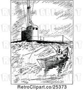 Vector Clip Art of Retro Submarine Rising by a Guy Fishing by Prawny Vintage
