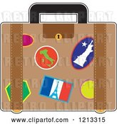 Vector Clip Art of Retro Suitcase with France Italy and Usa Travel Stickers by Maria Bell
