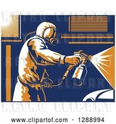 Vector Clip Art of Retro Suited up Worker Spray Painting a Car, with a White Border by Patrimonio