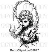 Vector Clip Art of Retro Sulking Girl and Branch by Prawny Vintage
