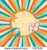 Vector Clip Art of Retro Summer Frame with Sandals a Beach Ball Starfish Grunge and Rays by Elaineitalia