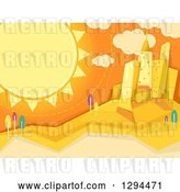 Vector Clip Art of Retro Summer Sun Shining over a City by BNP Design Studio