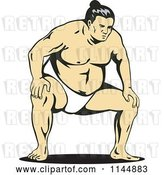 Vector Clip Art of Retro Sumo Wrestler Crouching by Patrimonio