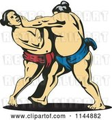 Vector Clip Art of Retro Sumo Wrestling Match 2 by Patrimonio